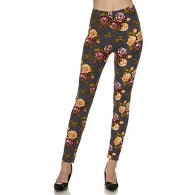 2NE1 Apparrel JULIANA Gray Floral Legging