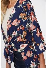 Peach Love California ERICA Navy Floral Kimono