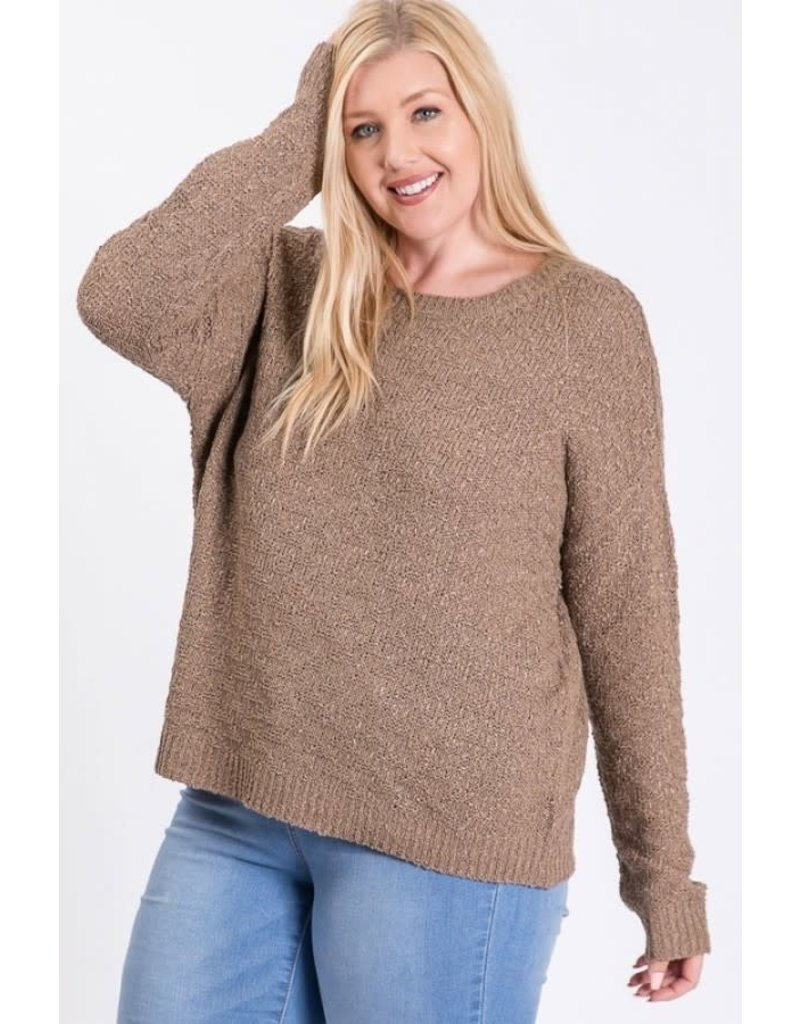 Cozy Casual AVERY Light Knit Pullover Sweater (Mocha)