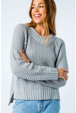 Cozy Casual APRIL Waffle Knit Pullover Sweater (Grey)