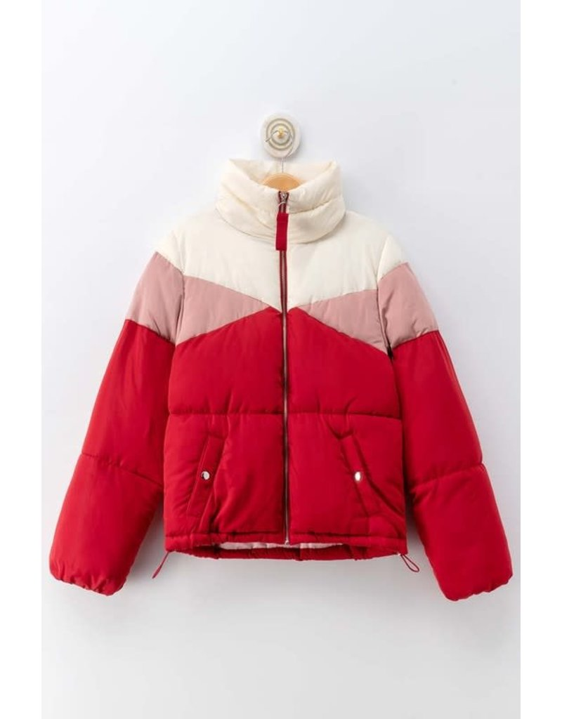 Trend Notes CLAIRE Colorblock Puffer Jacket