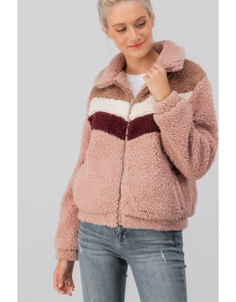 Trend Notes IVY Color Block Sherpa