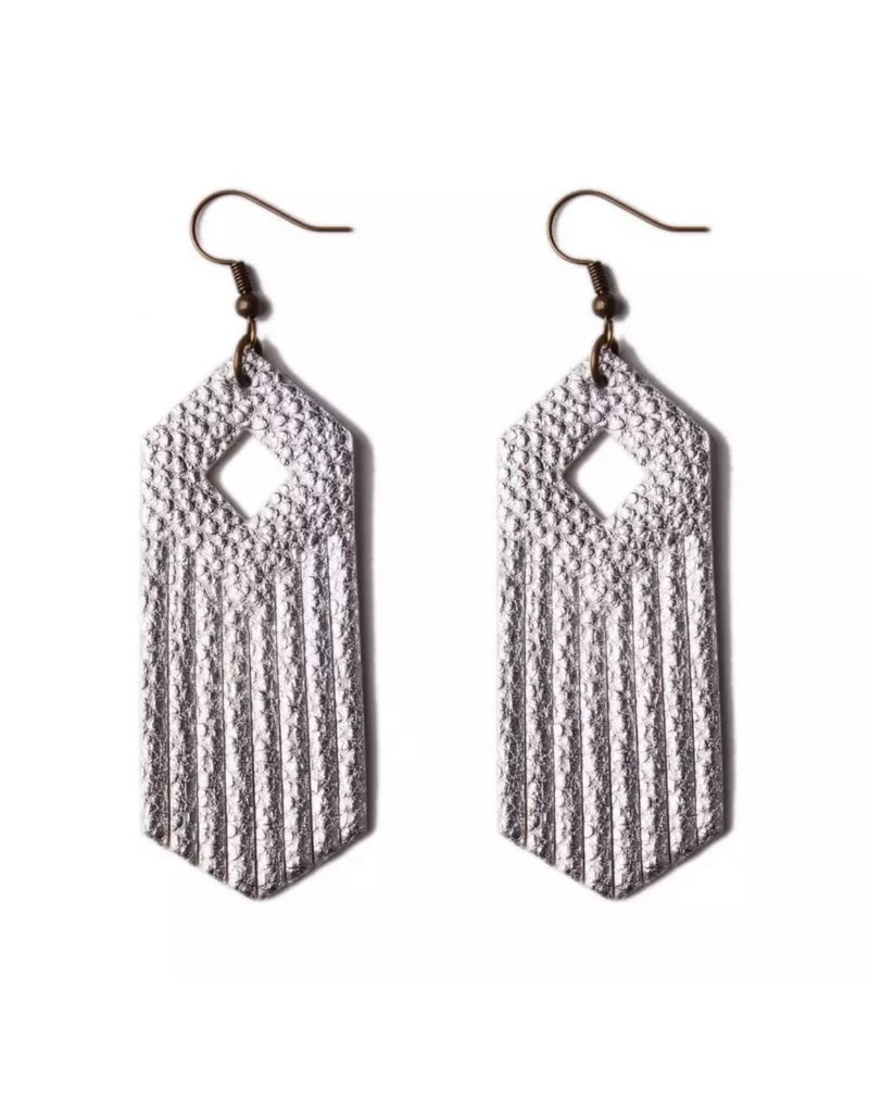ARIA Silver Leather Earring