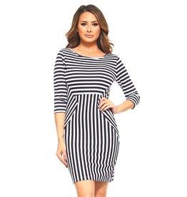 Yelete MEGAN Striped Knit Dress