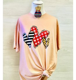 So Cute Appliques TRIPLET HEARTS Graphic Tee (More Colors)