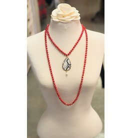 IAN Red Beaded Necklace with Snakeskin Pendant