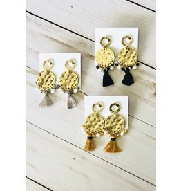 J&S Fashion ALEXIS Brushed Gold Earring with Charms & Tassels