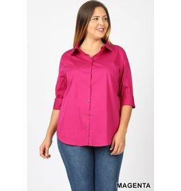 Zenana Premium BROOKLYN  Curvy Girl 3/4 Sleeve Shirt