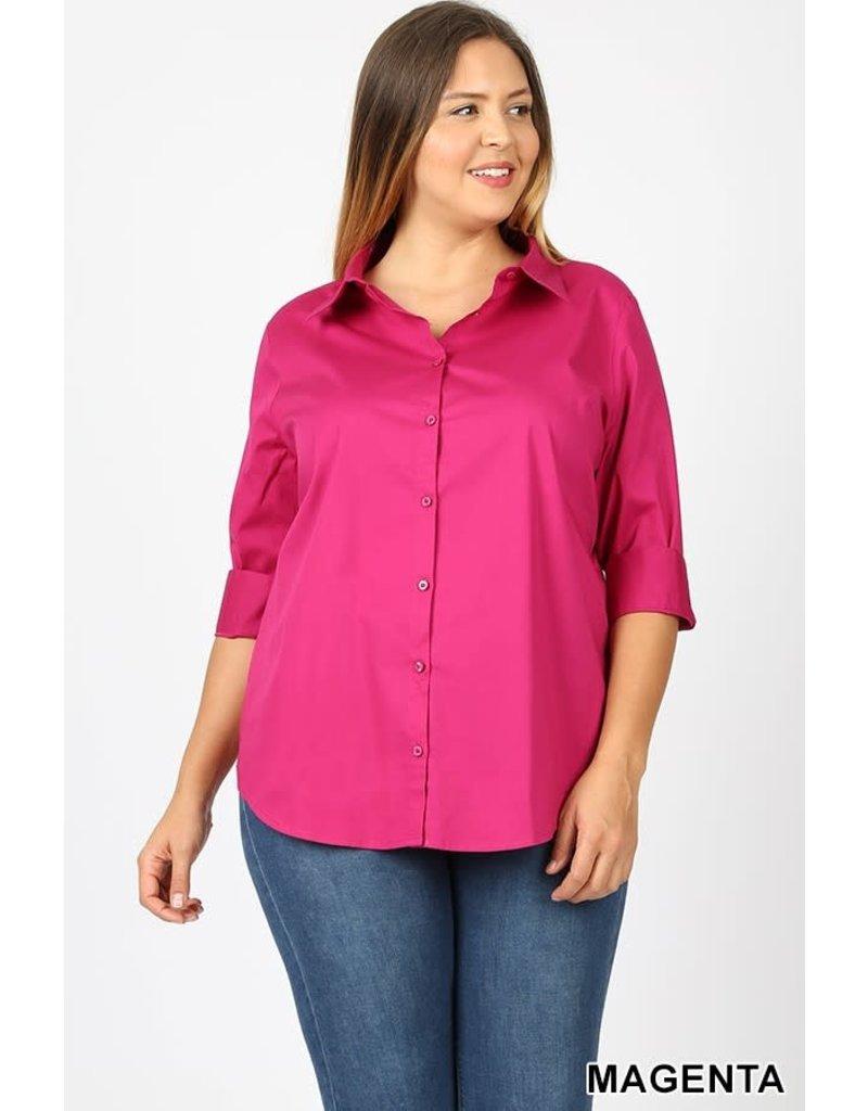 Zenana Premium BROOKLYN 3/4 Folded Sleeve Classic Shirt