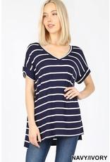 Zenana Premium ASHLEI Stripe Short Sleeve V-Neck (Navy/Ivory)