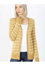 Zenana Premium MANDY Striped Button Cardigan