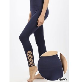 Zenana Premium ERIN High Waisted Seamless Leggings (navy)
