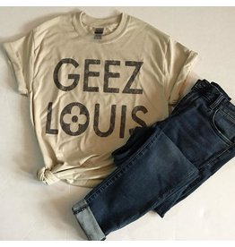 P & PD GEEZ LOUIS LV Print Graphic Tee in Tan