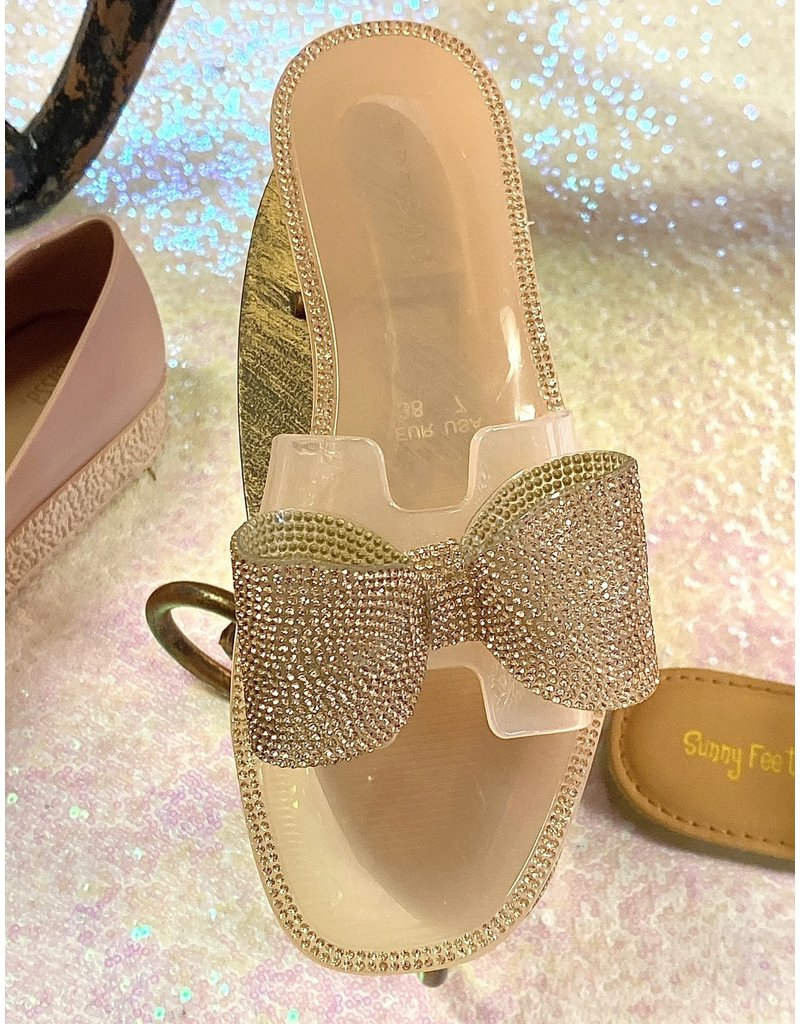 Bamboo TENOR Jelly Sandal with Crystal Bow