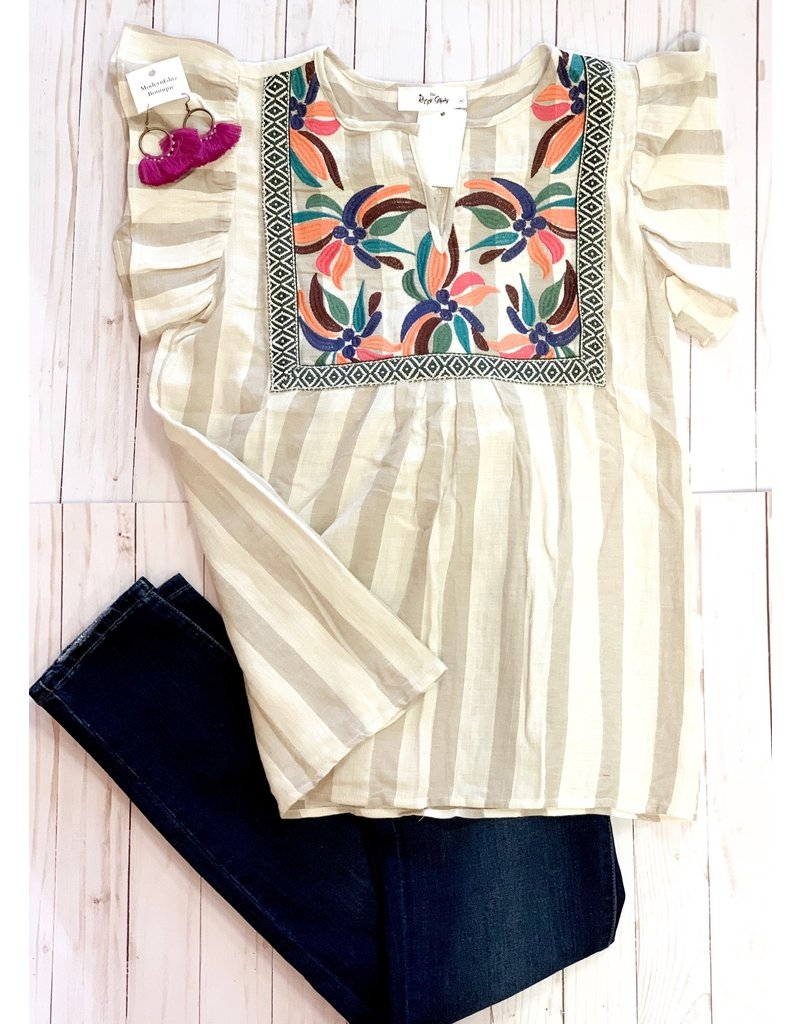 The Ritzy Gypsy WHITFIELD Embroidered Top