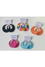 Funteze Accessories LUNAR Raffia Hoop Earring