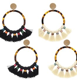 Suzie Q/KNC CHANTELE Tortoise Earring with Tassels