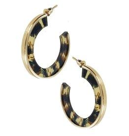 Funteze Accessories OLIVIA Leopard Acrylic Hoop Earring