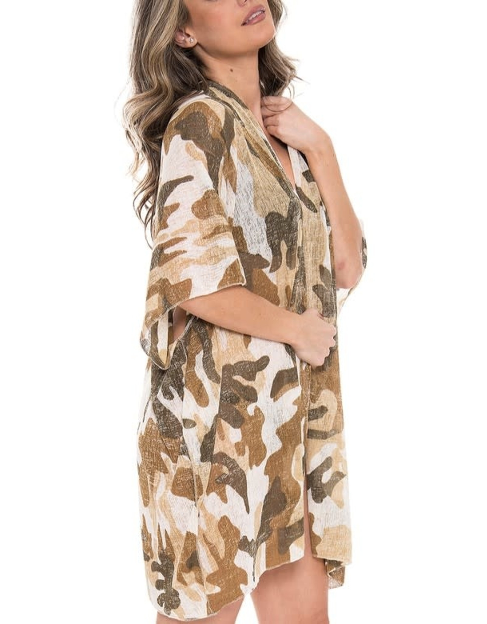 Fashion City HANNAH Camo Knit Kimono/Swim Cover