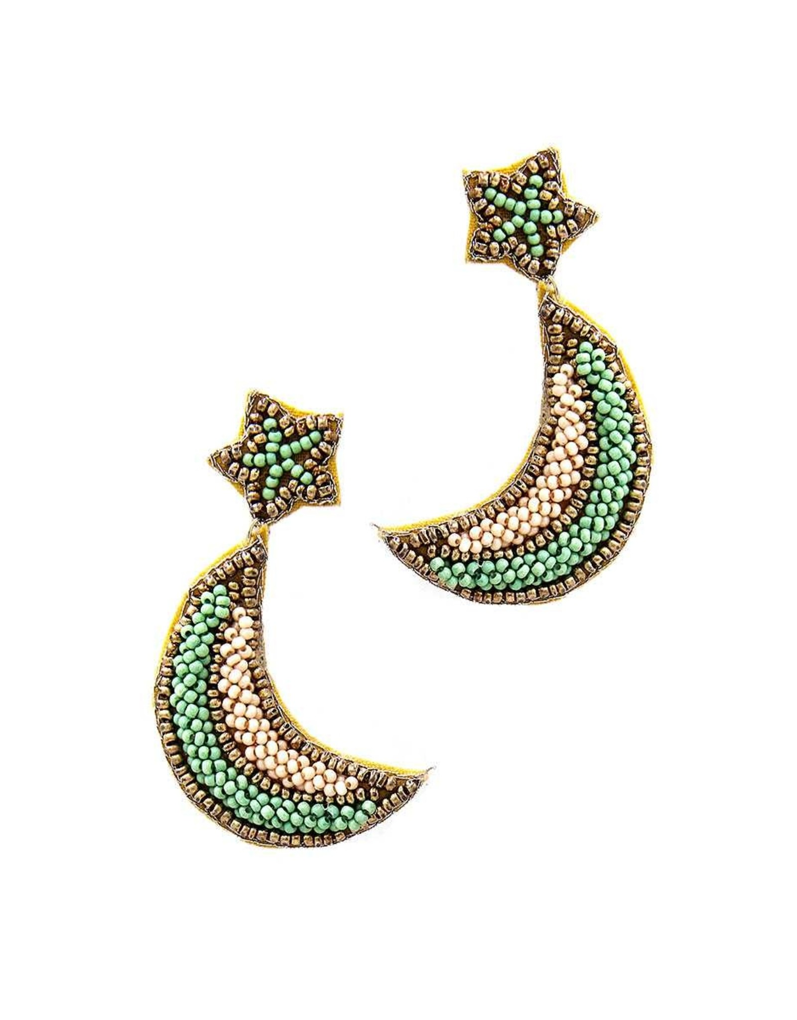 CRESCENT Seed Bead Earrings