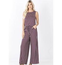 Zenana Premium MAGGIE Striped Jumpsuit (Plum)