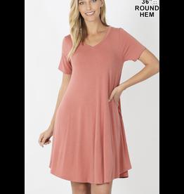 Zenana Premium VAL Short Sleeve A-Line Dress