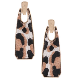 Art Box WHITE Leopard Drop Earrings