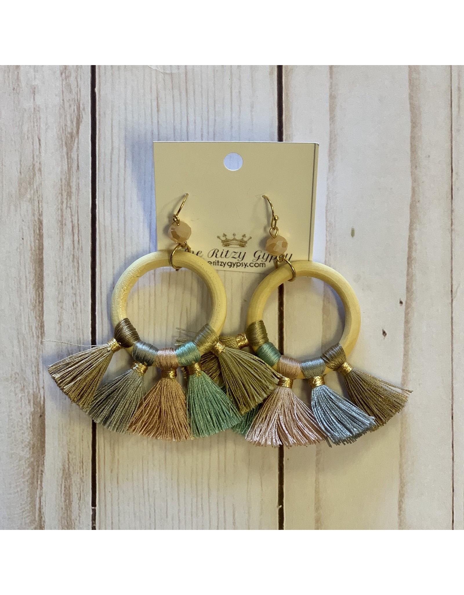 KNC Wholesale JILL Wooden Hoop Tassel Earrings