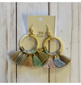 KNC Wholesale JILL Wooden Hoop Tassel Earrings