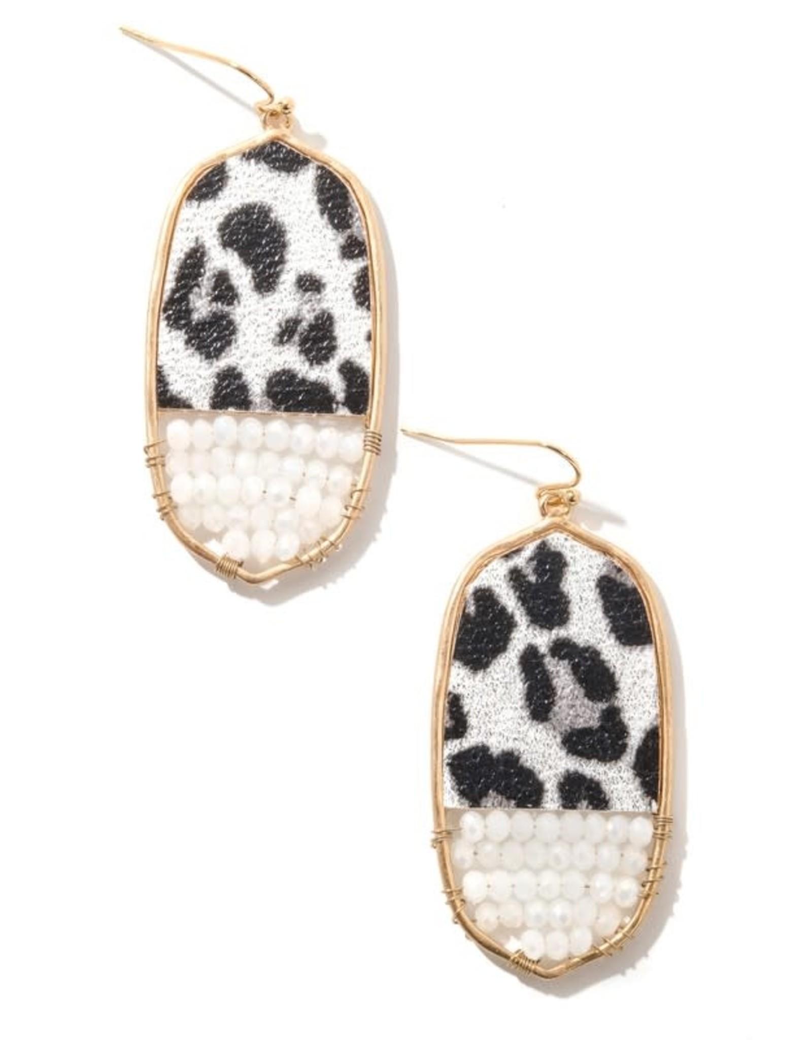 Anarchy Street JOSIE White Leopard Beaded Earrings