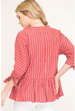 She+Sky TIFF Striped Top with Tie Sleeve