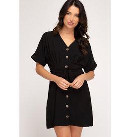She+Sky CHANAE Black Button Front Dress