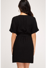 She+Sky CHANAE Black Button Front Dress