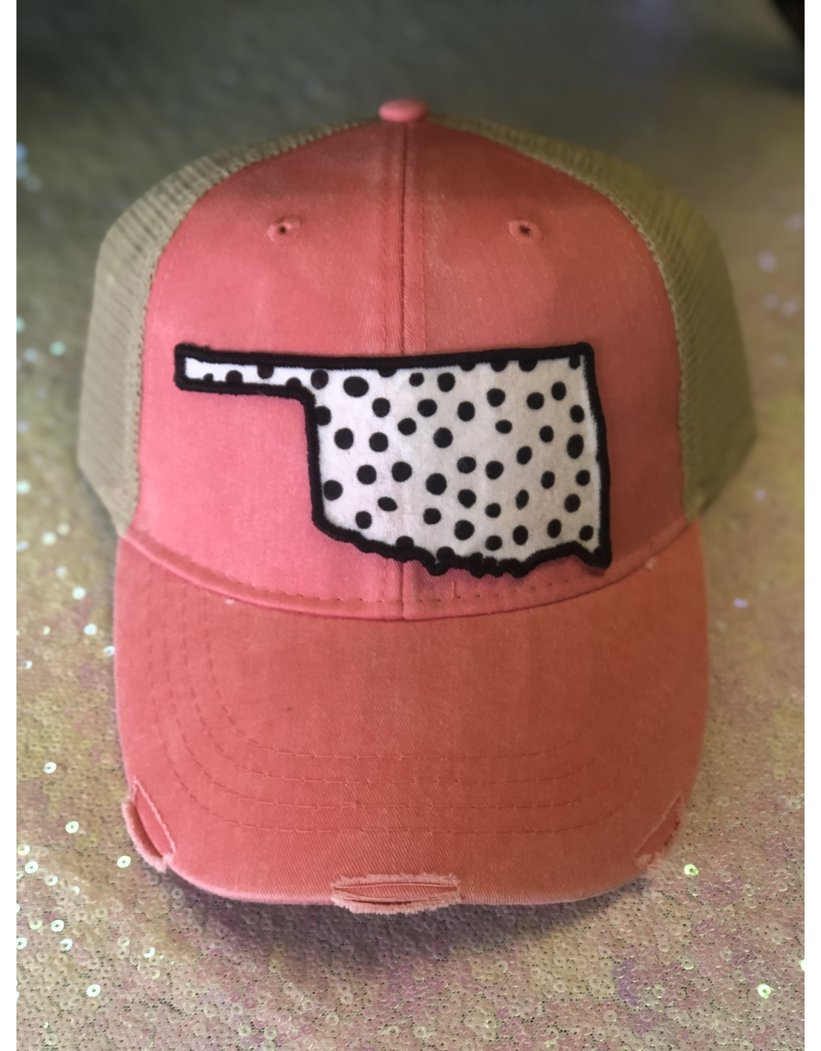 The Ritzy Gypsy Okie Coral & White Cheetah Trucker Hat
