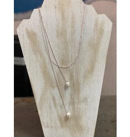 BienBien AGGIE 3 Layer Pendant Silver Necklace
