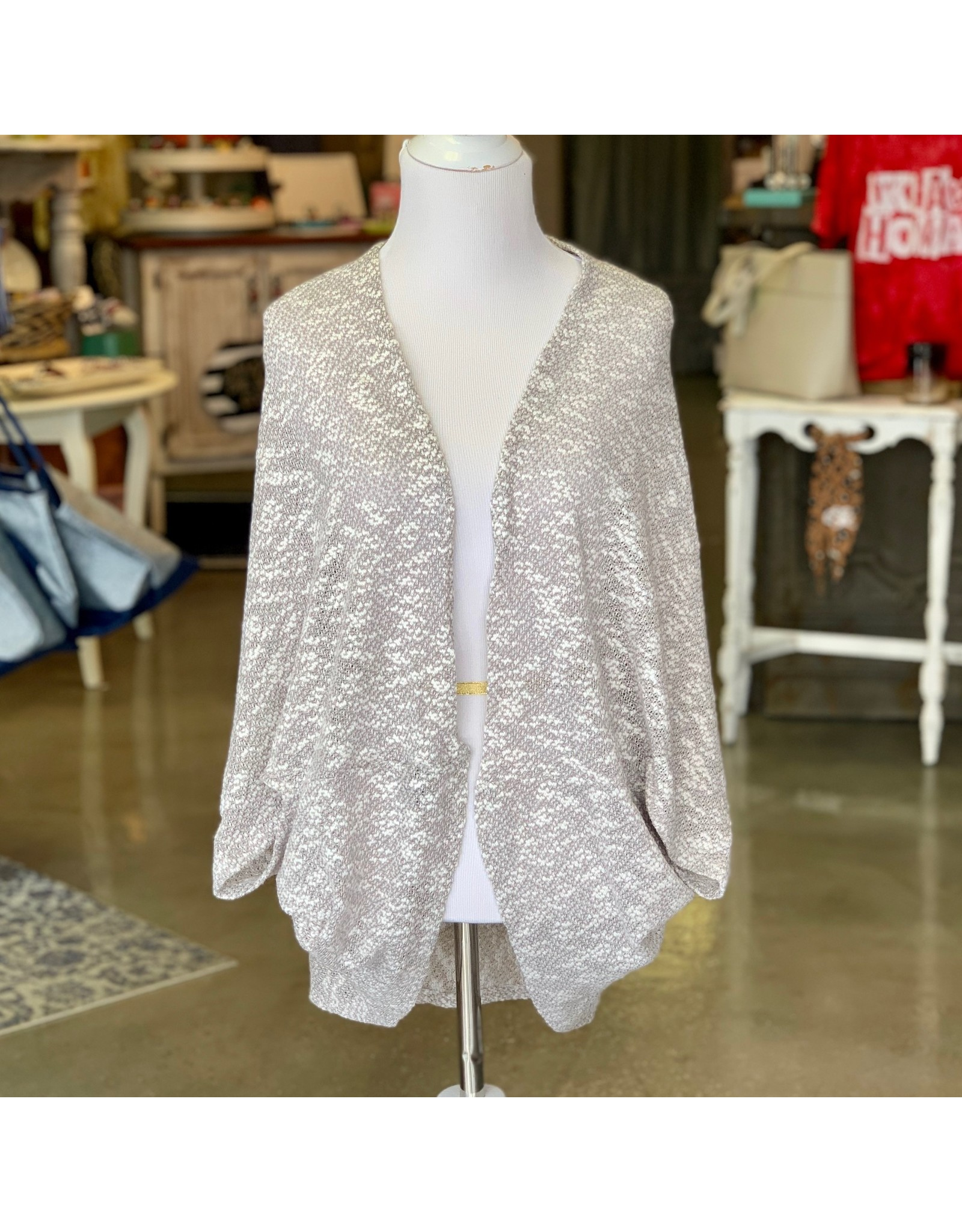 Justin&Taylor Gray Speckled Cardigan O/S