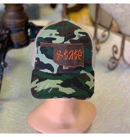 The Ritzy Gypsy Camo Orange State Trucker Hat