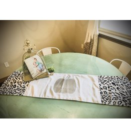 Basket ENTERTAINING Leopard Table Runner with Silver Pumpkin