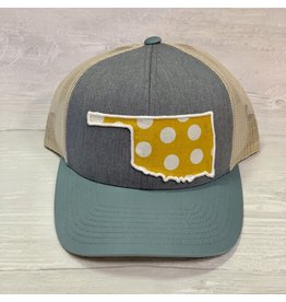 TSC Apparel OKIE Double Blue hat with Mustard/White Polka Dots