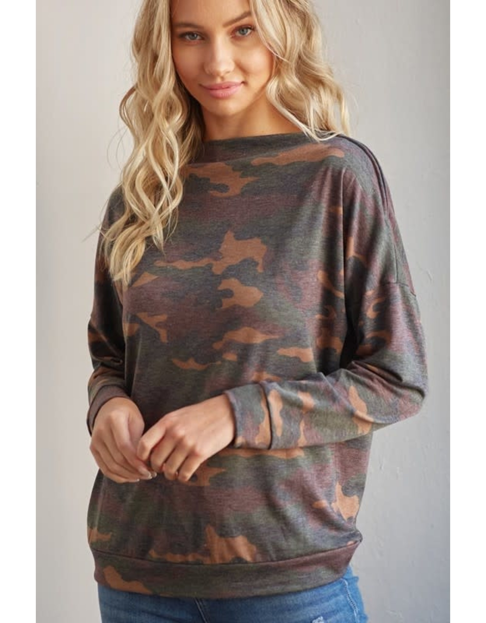 CY Fashion CAMO Zipper Shoulder Top
