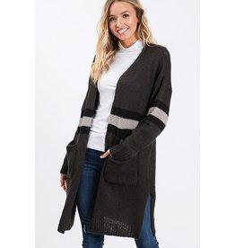 CY Fashion LONG Black Striped Cardigan