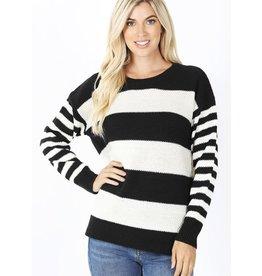 fashiongo TRUE COLORS Black and White Striped Sweater