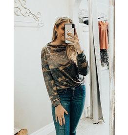 CY Fashion CAMO Zipper Shoulder Top