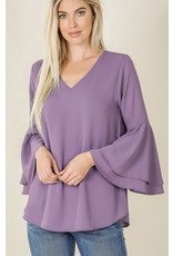 fashiongo LOVELY LILAC Bell Sleeve Top