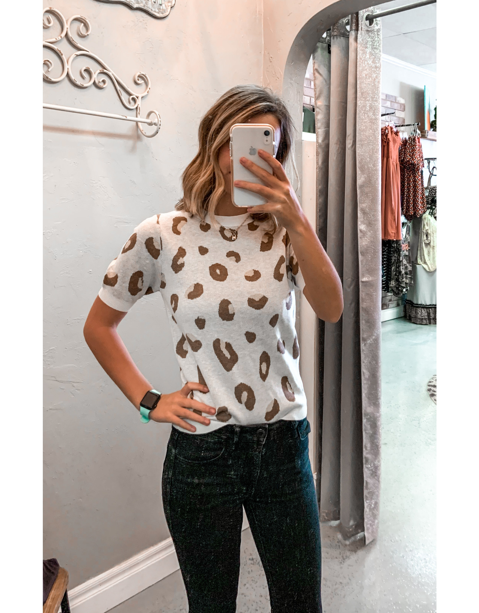 ELLA Leopard Short Sleeve Sweater Top