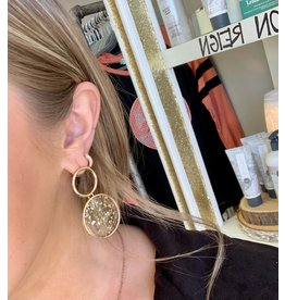 The Ritzy Gypsy Sparkle Gold circle earrings
