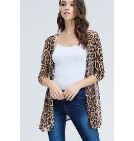 Cezanne VOGUE Sheer Leopard Kimono