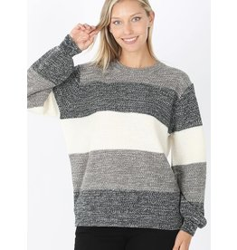 Zenana Premium COZY AFTERNOON Colorblock Balloon Sleeve Sweater