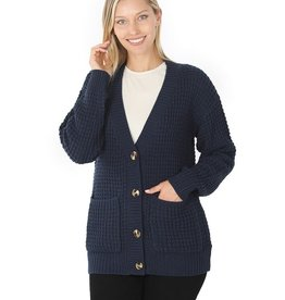 Zenana Premium CAREFREE ATTITUDE Waffle Cardigan with Pockets