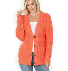 Zenana Premium CAREFREE Waffle Cardigan with Pockets